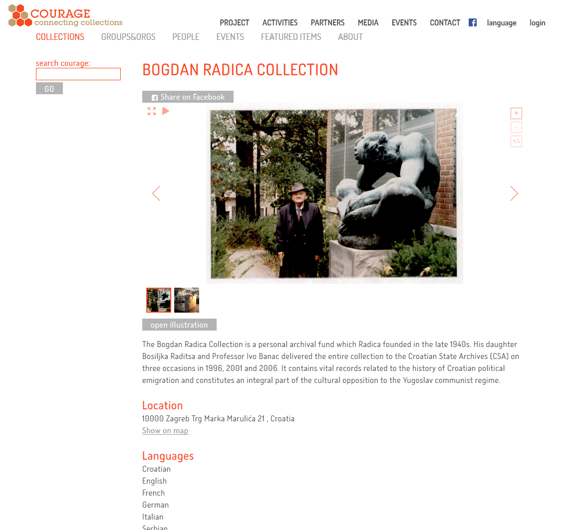 View of the Bogdan Radica collection in the registry