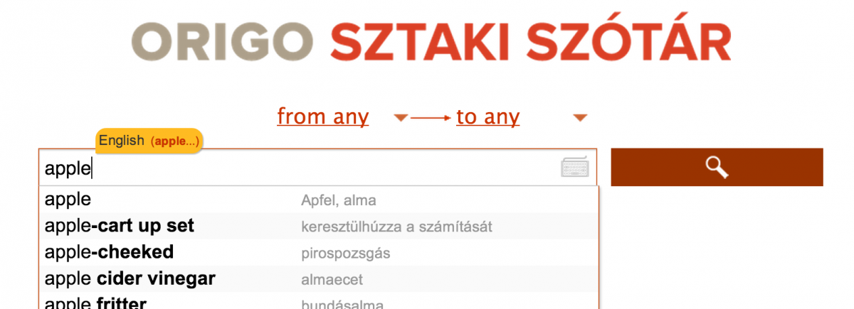 SZTAKI Dictionary zero-config search with autocomplete